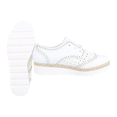 Schnürer Damenschuhe Oxford Schnürer Schnürsenkel Ital-Design Halbschuhe Weiß 534-Y