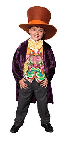 Zauberer Kinder Von Der Kostüm Vogelscheuche Oz - ILOVEFANCYDRESS Kinder SCHOKOLADEN Fabrik BOSS= KOSTÜM VERKLEIDUNG= Fasching +Karneval+BUCHWOCHE =SAMIGE Jacke+GROSSER+Hut+ Weste+ GROSSEN Fliege=XLarge