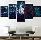 LJLSLH Leinwanddrucke Drucke Wandkunst 5 Stück The Witcher 3 Spiele Plakat Hd Moderne Leinwandmalerei Hauptdekoration Größe B (Mit Rahmen)