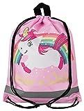 Aminata Kids - Kinder-Turnbeutel für Mädchen und Damen mit Unicorn Sache-n Pferd-e Haus-Tiere Einhorn Sport-Tasche-n Gym-Bag Sport-Beutel-Tasche Weiss rosa pink Regenbogen Stern-e