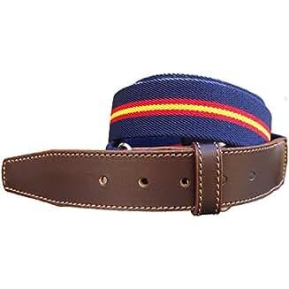 Pi2010 Cinturón de lona marino con la bandera de España y terminaciones en piel. Ajustable. Fabricado en España. Talla única