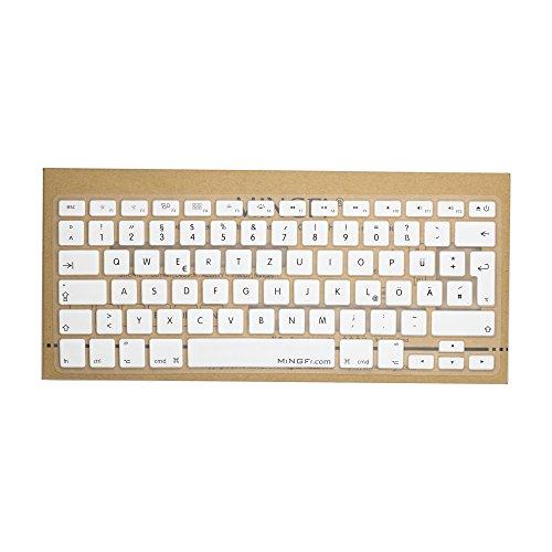 MiNGFi Deutsche Tastatur Silikon Schutz Abdeckung QWERTZ für MacBook Pro 13, 15, 17 Air 13 Zoll EU Keyboard Layout Silicone Cover - Weiß (Macbook Weiß 13-tastatur-abdeckung)
