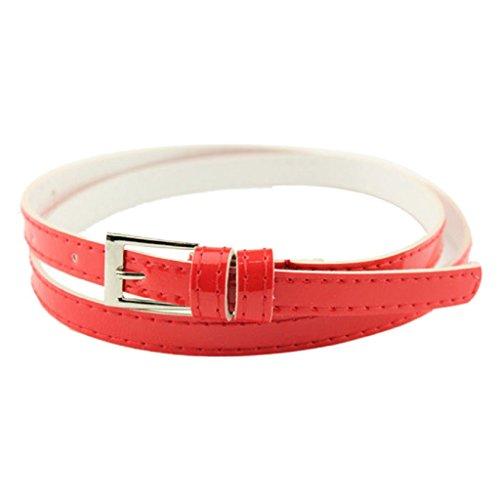 Kanpola Damen Gürtel Heiße schöne Frau Mehrfarbige kleine Süßigkeit Farbe Dünner Ledergürtel Ms Gürtel (100, Rot)