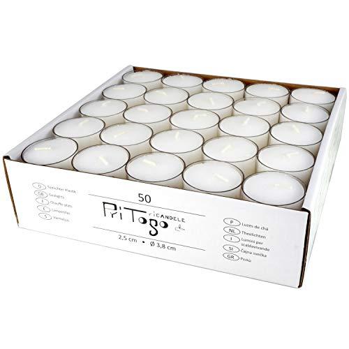 Pritogo Teelichter Kunststoffhülle, Weiss [50 Stück] Ø 3,8 * 2,5 cm, Rußfrei, Brenndauer: 9 Stunden