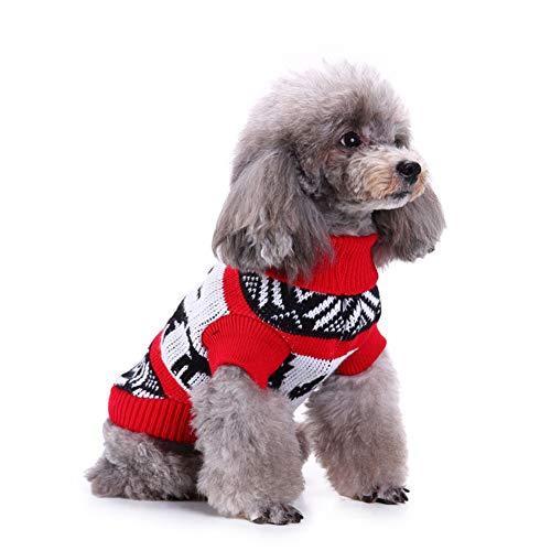 Kabel Stricken Pullover Muster (strimusimak Winter Hund Welpen warme Pullover Kleidung Weihnachten Schnee Deer Muster Festival Geschenk Red XL)