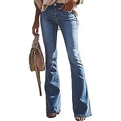 Aleumdr Mujer Pantalones Rectos Jeans Cintura Alta Vaqueros Push up para Mujer Azul Size M
