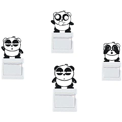 lote de vinilo decorativo pegatina pared, para interruptor o enchufe (Varios colores a elegir)- lote 4 oso panda