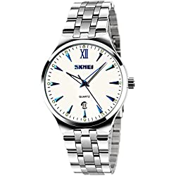 CIVO Mens Luxury Stainless Steel Band Casual Business Wrist Watches Men's Analogue Quartz Dress Watch Fashion Simple Classic Roman Numeral Design Date Calendar White Dial with Link Remover Bonus