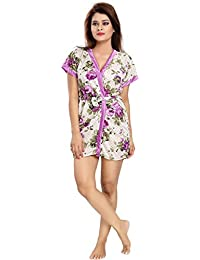 TWO DOTS Women's Satin Nighty Robe With Bra and Panty Set (Free Size)