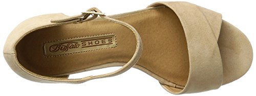 Buffalo David Bitton 315267 Imi Suede Bhwmd A16, Sandales Bout Ouvert Femme Beige (Nude 01)