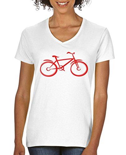 Comedy Shirts - Fahrrad - Damen V-Neck T-Shirt - Weiss / Rot Gr. M (Crewneck Reine Baumwolle T-shirt)