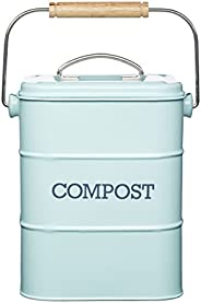 Kitchen Craft Living Nostalgia 3 Liter Roestvrijstalen Compostemmer, Eendenei Blauw