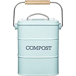 Kitchen Craft LNCOMPBLU Living Nostalgia Poubelle à Compost 3 L, Acier, Bleu Clair