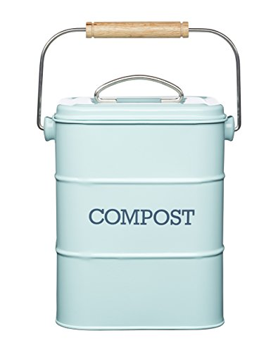 *Kitchen Craft LNCOMPBLU Living Nostalgia Komposteimer, 3 Liter, Edelstahl, Vintage-Design, Blau Vintage*