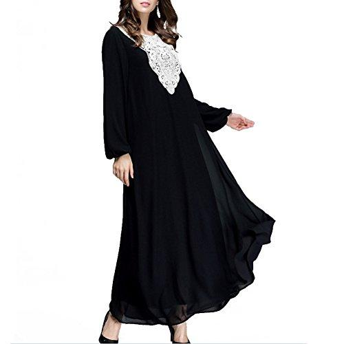 Highdas muslimischen Frauen Langarm lose Spitzenkleid die neuesten Mode Spleißen arabischen Roben Schwarz