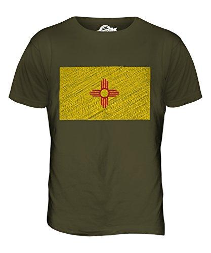 CandyMix Bundesstaat New Mexico Kritzelte Flagge Herren T Shirt Khaki Grün