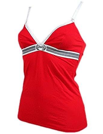 "DOLCE & GABBANA D&G ""Goddess 1O"" femme camisole élastique coton (rouge/blanc)"