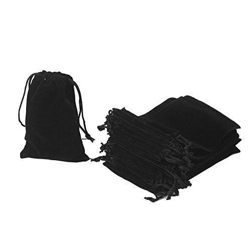 7.2 X 9.2cm HRX Package Little Velvet Drawstring Pouches 20pcs Black Velvet Cloth Bags for Jewellery Wedding Ring Small Gift