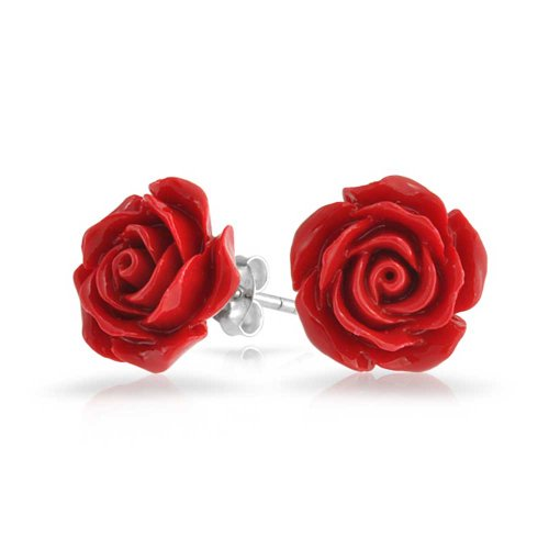 Silver Plated Red Rose Stud Earrings 10mm