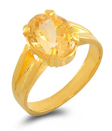 S KUMAR GEMS & JEWELS Certified 5.25 Ratti Natural Yellow Sapphire Panchdhatu Ring