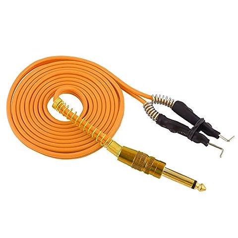CHUSE Tattoo Kabel-Clip AD-25 6FT Länge Edelstahl-Phono-Stecker Silikonkabel für Maschinengewehr (Qualität Phono-stecker)