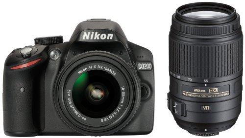Nikon D3200 SLR-Digitalkamera (24 Megapixel, 7,4 cm (2,9 Zoll) Display, Live View, Full-HD) Double Zoom Kit inkl. AF-S DX 18-55 VR II und 55-300 VR Objektiv schwarz