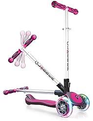 globber niña My Free Fold Up SL con luces en las ruedas, 3de Wheels BI de Inject Scooter, color rosa/gris, One size
