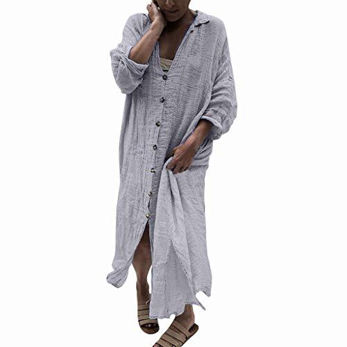 WUDUBE Robe de Femme Mode L'automne Revers Robe à Manches Longues Irrégulier Longue Bouton Robe de Couleur Unie Cardigan Couche Mince