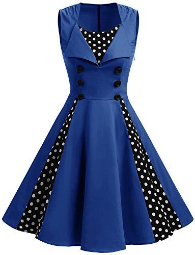 Retro Vintage Rockabilly Audrey Hepburn Cocktailkleid festlich Partykleid Royal Blue Dot 2XL (Bunny Kostüme Für Frauen)
