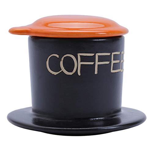 VietBeans Keramikfilter - Handgefertigter Vietnamesischer Kaffeefilter - Cafe Phin Kaffee Vietnam - Eine Kaffeetasse - Wiederverwendbar - Orange