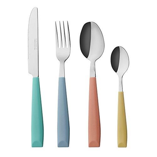 EXZACT WF232W-MIX - 24 PCS Besteck Set - Edelstahl mit lebendig gefärbten Kunststoff-Handgriffen - Bequem zu halten - 6 x Gabeln, 6 x Dinner Messer, 6 x Dinner Esslöffel, 6 x Teelöffel - Service für 6 (Mischfarbe Farbe x 24)