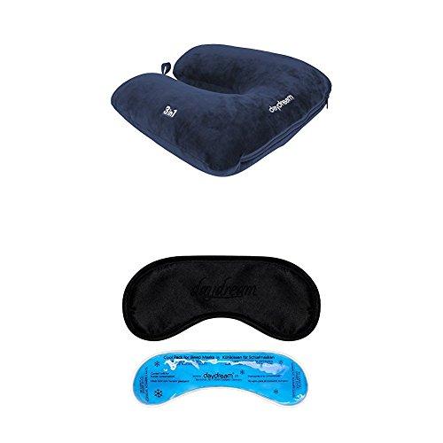 daydream patentiertes 3-in-1 Nackenkissen mit Mikroperlen + Premium-Schlafmaske mit Kühlkissen