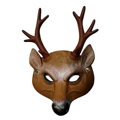 HoSayLike Mascaras De Halloween,Disfraz De MáScara De Miedo De Halloween Cosplay para Adultos Accesorios De DecoracióN De Fiesta Creepy MáScara De Ciervo MarróN