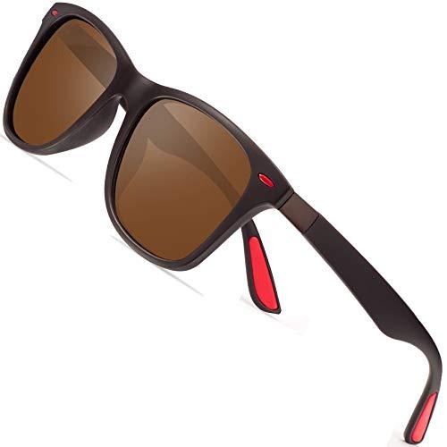 Polarized Sonnenbrillen Herren Vintage Style Sonnenbrillen Damen-Sport im Freien Golf Radfahren Angeln Wandern FD2150 (Braun rot, 60)