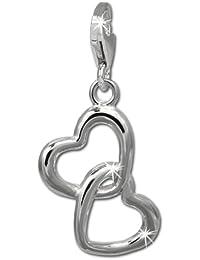 SilberDream umschlungene 2 charm en forme de coeur en argent 925 charm pour bracelet ou collier boucles d'oreilles fC837W