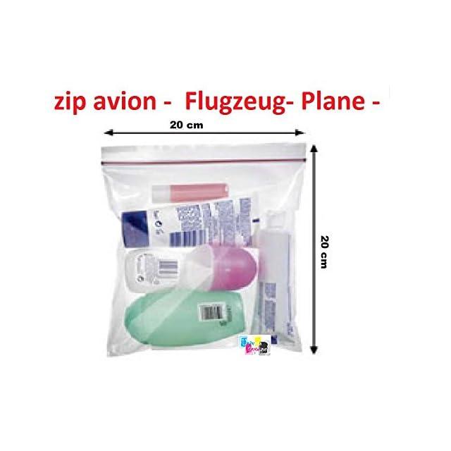 lot de 10 ex - Pochette Sachet avec fermeture par ZIP 200 X 200 mm Idéal pour les liquides en avion , aéroport Format Avion