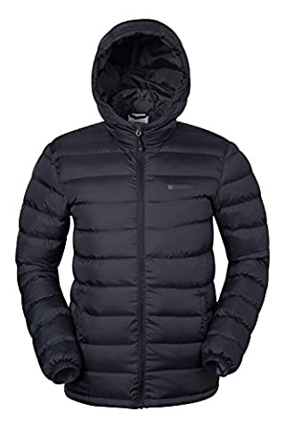 Mountain Warehouse Seasons Men's Padded Jacket - Lightweight & Water-Resistant with Microfiber Filler for Warmth & Protection - Great for Everyday Use Black