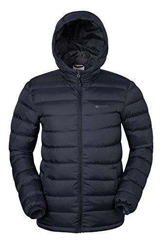 Mountain Warehouse Season Mens Jacket - Padded Mens Coat, Lightweight, Water Resistant Rain Coat, Microfibre Filler - Ideal in Cold Weather Black X-Large