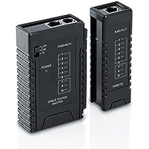 CSL - Tester de cables de red para cable RJ45-/RJ11 | Comprobador de cables de conexión / Comprobador de conductividad | Dos velocidades distintas | Selector On/Off |