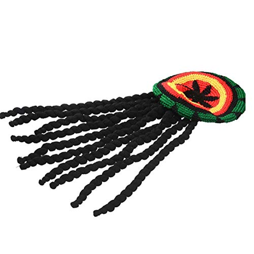 Aisoway Dreadlocks Perücke Hut Reggae Jamaican Stil Rasta Hut Gewirkte Gestrickte Mütze Cap Langes Schwarzes Haar Kostüm (Baby Unkraut Kostüm)