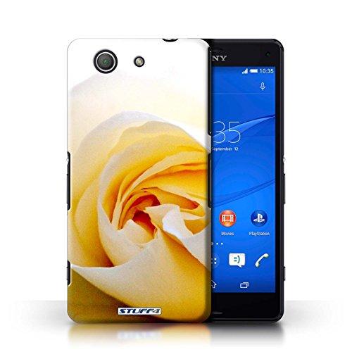 Kobalt® Imprimé Etui / Coque pour Sony Xperia Z3 Compact / Motif Feuille conception / Série floral Fleurs Blanc Rose