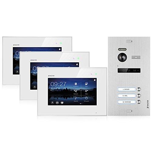 BALTER EVO Video Türsprechanlage ✓ Touchscreen 7 Zoll Monitor ✓ Türstation für 3 Familienhaus Türklingel ✓ 2-Draht BUS ✓ 150° Weitwinkel-Kamera