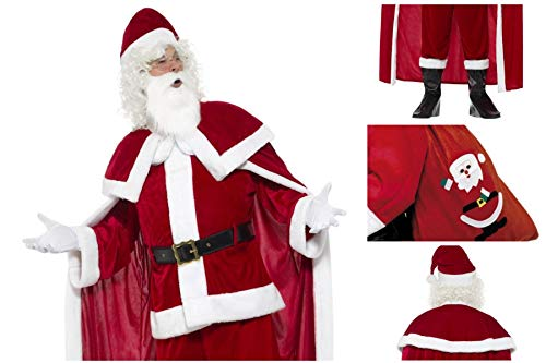 Fancy Dress World - Deluxe Complete Santa Claus Father Christmas Costume - Trousers Jacket Cape Belt Gloves Boot Covers Beard & Hat FREE Santa Sack - Santa's Grotto Panto Party Fun 43124 655