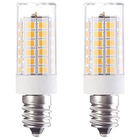Granvoo 2-er Pack E12 5W Kaltweiß LED Licht mit PC-Abdeckung AC 220-240V 51x 2835 LEDs