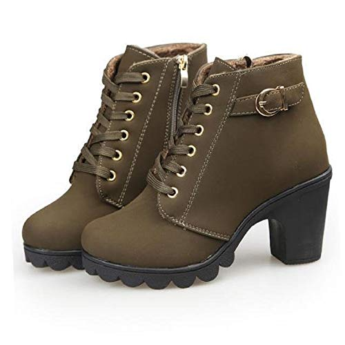 Stiefel Damen Mit Absatz Blockabsatz Frauen High Heels Ankle Boots Knöchel Stiefel Winterschuhe Warm Stiefeletten Martin Schuhe Grün 39