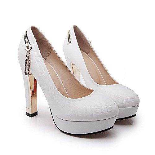 AllhqFashion Femme Rond à Talon Haut Tire Pu Cuir Couleur Unie Chaussures Légeres Blanc