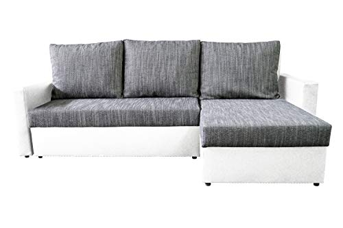 Avanti trendstore - karol - divano ad angolo con funzione letto e cassettone integrato, disponibile in 2 diversi colori, dimensioni: lp 228x147 cm (bianco)
