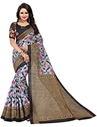 IndoPrimo Cotton Silk Saree With Blouse Piece (a226_Black_Free Size)