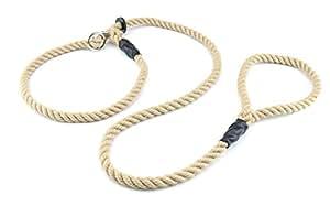 Happilax Retrieverleine mit Zugstopp, Moxonleine mit 1,50 m Länge, Hunde-Leine und Halsband in einem