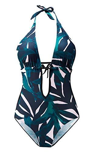 Eomenie Damen Badeanzug Einteilige Cut Out Bademode Neckholder Rückenfrei Monokini